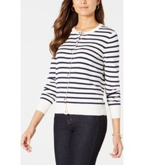 charter club striped grommet-trim cardigan sweater, created for macy's