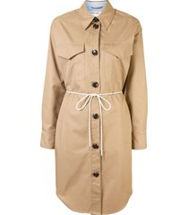 designers remix tie-waist shirtdress - brown