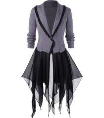 plus size handkerchief chiffon insert halloween coat