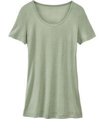 zijden-shirt met korte mouwen uit organic silk, bleekgroen 40/42