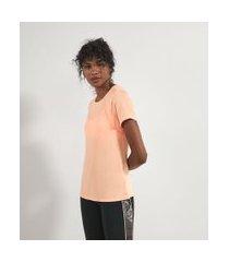 camiseta esportiva lisa energy fit com recortes   get over   laranja   p
