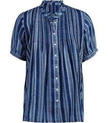 ruffle blouse stripe dobby