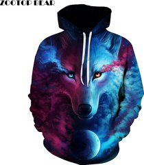 wolf printed hoodies men 3d sweatshirt quality plus size pullover novelty 6xl
