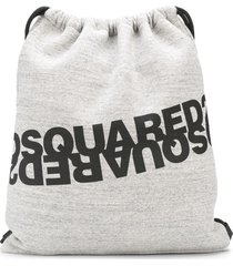 dsquared2 logo-print jersey backpack - grey