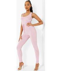 geribbelde skinny fit jumpsuit met ceintuur, lilac