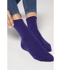 calzedonia non-elastic cotton ankle socks woman violet size 39-41