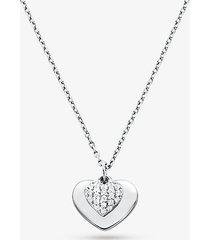 mk collana con cuore in argento sterling placcato in metallo prezioso e pavé - argento (argento) - michael kors