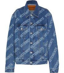 allover logo print denim jacket