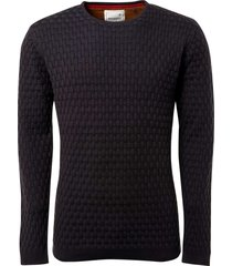 pullover r-neck, block jacquard kni night