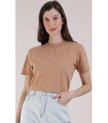 t-shirt feminina mindset manga curta decote redondo caramelo