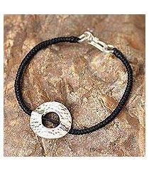 silver pendant bracelet, 'hill tribe moon' (thailand)