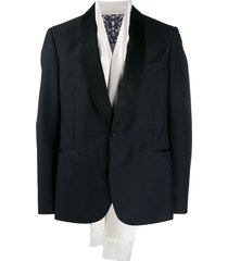 alexander mcqueen evening scarf tuxedo jacket - black