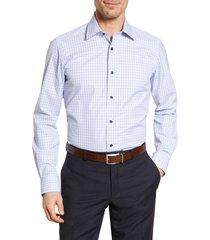 men's big & tall david donahue trim fit check dress shirt, size 18 - 34/35 - blue