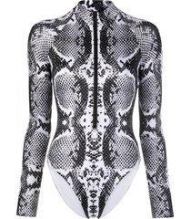 noire swimwear snakeskin print zip-up swimsuit - black