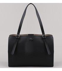 bolsa de ombro feminina grande com divisórias preta