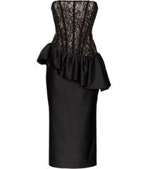 rasario vestido midi com espartilho - preto