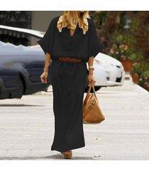 zanzea manga larga para mujer cuello en v de algodón dreess floja ocasional de túnica holgados vestidos maxi -negro