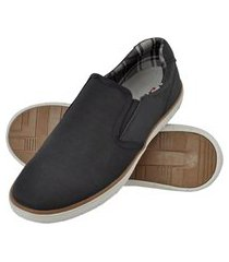 sapatênis slip on masculino solado borracha confortável preto