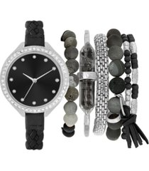 jessica carlyle women's braided black strap watch 38mm gift set