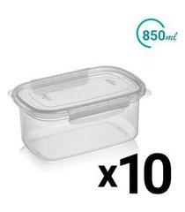 conjunto pote plástico microondas freezer trava lateral 850ml 10un