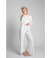 pyjama's / nachthemden lalupa la026 viscose broek met hoge splitten - ecru