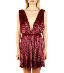 saint laurent raspberry plunging v-neck mini dress in pleated lamé velvet