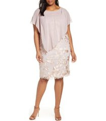 plus size women's alex evenings overlay embroidered shift dress, size 22w - pink