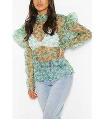 organza long sleeve top, green