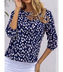 camicetta con maniche a 3/4 lunghezza con stampa a punti irregolari con scollo a o da donna delle vacanze