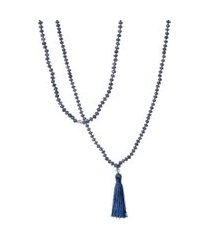 colar feminino japamala bhakti jade - azul