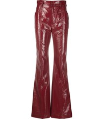 philosophy di lorenzo serafini high-rise flared patent trousers