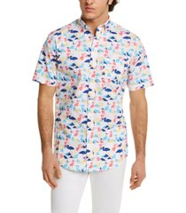 club room men's crane-print shirt, created for macy's