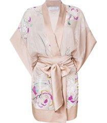 carine gilson floral short kimono - neutrals