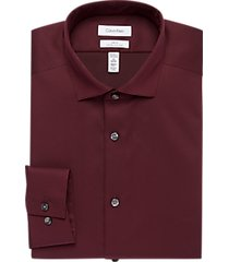 calvin klein infinite non-iron burgundy slim fit dress shirt