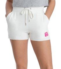 juicy couture women's fleece boyfriend shorts - white - size xl