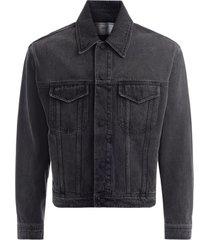 ami bomber jacket in washed black denim