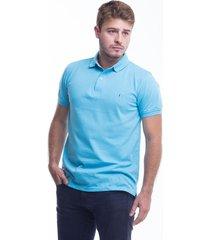 camiseta polo hamer, basica con bordado, para hombre color azul agua marina