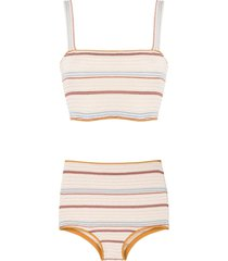 framed kalahari high waisted bikini set - multicolour