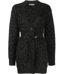valentino leopard pattern belted v-neck cardigan - grey
