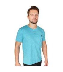 camiseta suffix com botão masculina