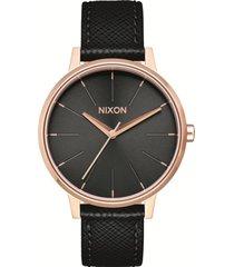 reloj kensington leather rose gold black nixon