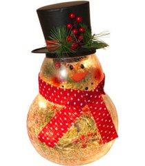 gerson & gerson 10-inch-high electric lighted, crackle glass snowman with metal top hat