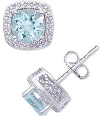 blue topaz (2 ct. t.w.) & cubic zirconia cushion stud earrings in sterling silver