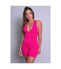 macaquinho mvb modas curto bojo suplex liso fitness rosa
