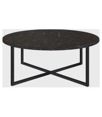 mesa de centro redonda marquina/est preta artesano