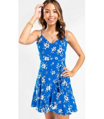 felicia floral flounce mini dress - cobalt