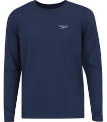 camiseta manga longa com proteção solar uv speedo - masculina - azul escuro