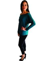 blusa verde esmeralda manga larga con puño y cuello redondo s