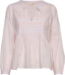 popular smock blouse blouse lange mouwen roze odd molly