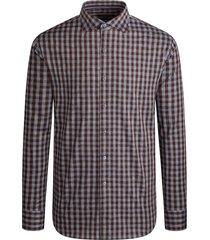 men's bugatchi classic fit check button-up shirt, size xx-large - brown